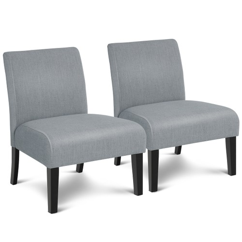 Costway Set of 2 Armless Accent Chair Leisure Chair Single Sofa Fabric Upho