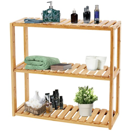 Costway Multifunctional 3 Bamboo Shelf Adjustable Rack Utility Storage Orga
