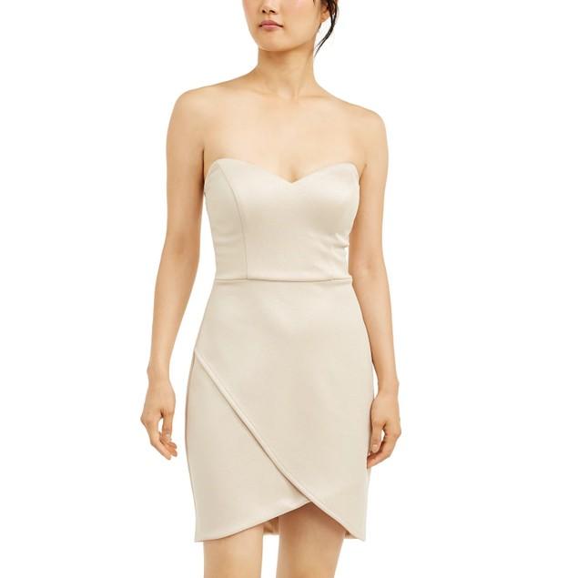 City Studios Juniors' Strapless Wrap-Skirt Dress Gold Size 7