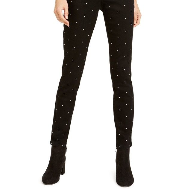 Bar III Women's Studded Skinny Ankle Pants Black Size 4