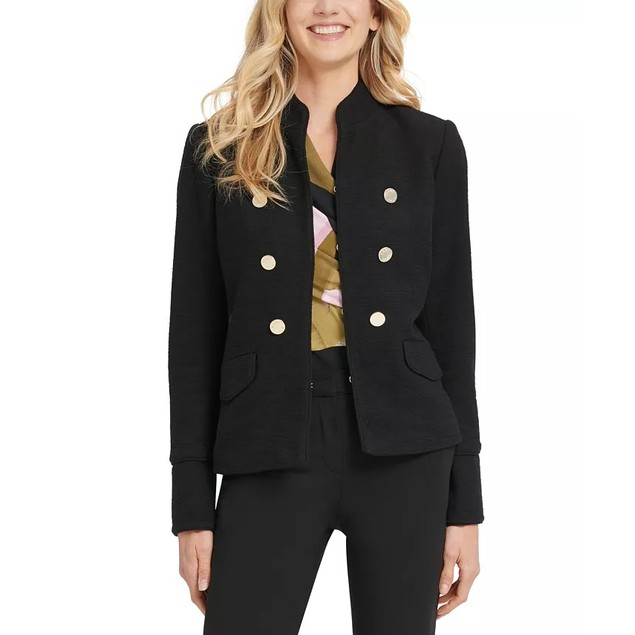DKNY Women's Stand Collar Double Breasted Military Jacket Black Size 8