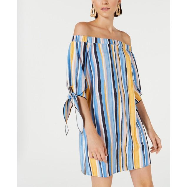 Bar III Women's Off-The-Shoulder Tie-Sleeve Dress Blue Size Medium