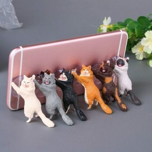 6-Pack Cat Themed Suction Cup Phone Holder