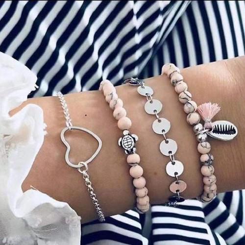 Pink Ocean Love Women Bracelets Set