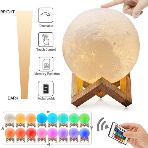 3D Printing Moon Lamp USB LED Night Lunar Moonlight Touch Color Changing
