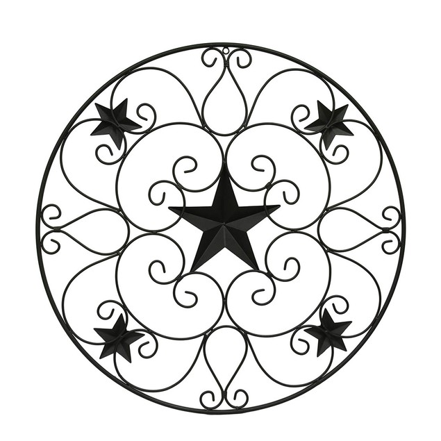 Rustic Brown Metal Stars And Scrolls Wall Sculptures