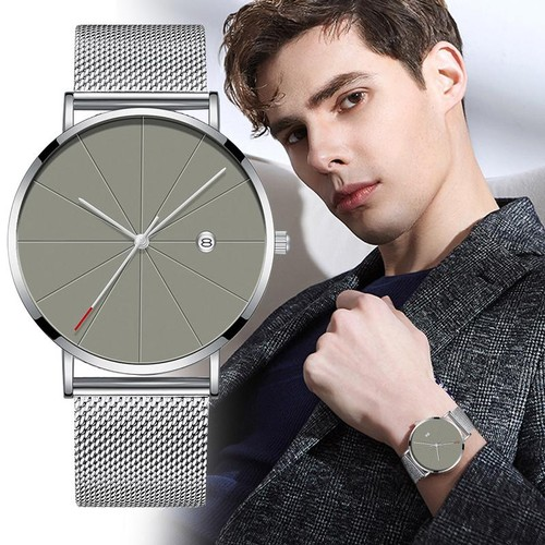 Mens Fashion Ultra-thin Stainless Steel Watch