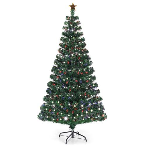 Costway Fiber Optic Pre-Lit Christmas Tree 180 Lights Top Star 5ft