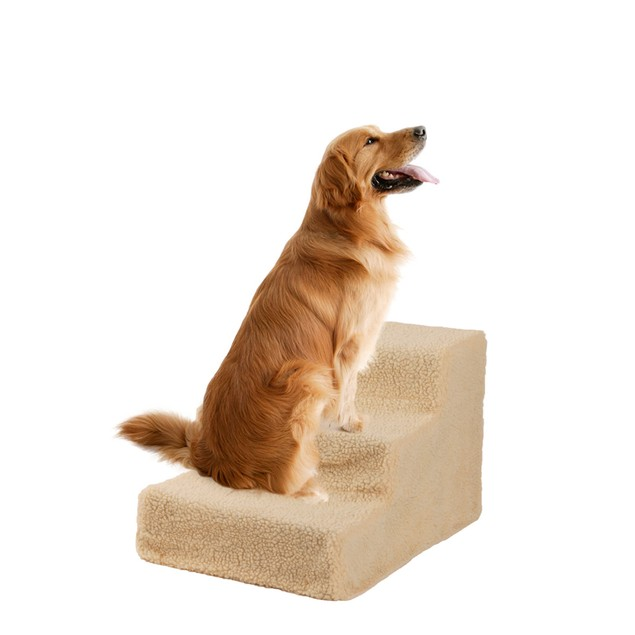 Portable Soft Cat Dog 3 Steps Ramp Small Climb Pet Step Stairs Beige