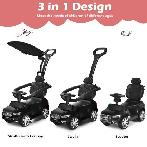 Costway 3 in 1 Licensed Volvo Kids Ride On Push Car Stroller for Toddler w/