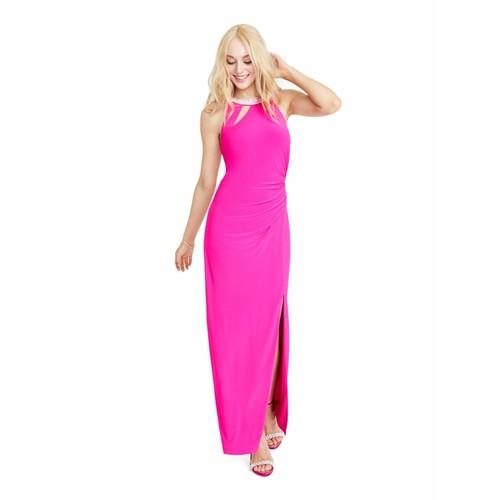 Royalty Women's  Halter Full-Length Body Con Formal Dress Pink Size Medium