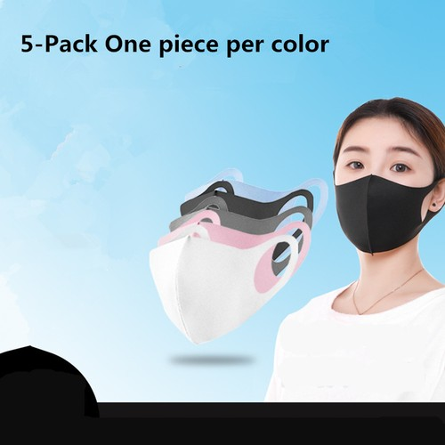 5-Pack One Breathable Ice Silk Mask For Each Color Unisex
