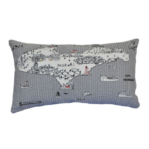 Spura Home Michigan Pictorial Skyline Contemporary Wool Day/Night Cushion