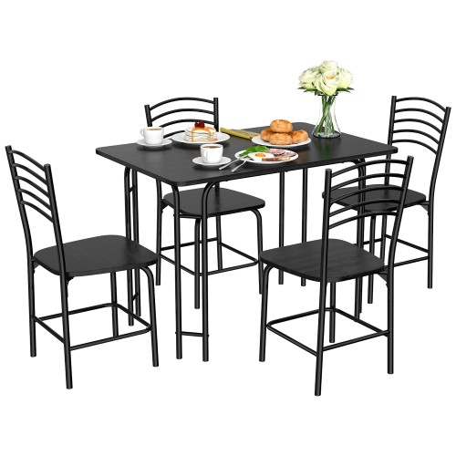 5 Pcs Modern Dining Table Set 4 Chairs Steel Frame Home Kitchen Furniture B