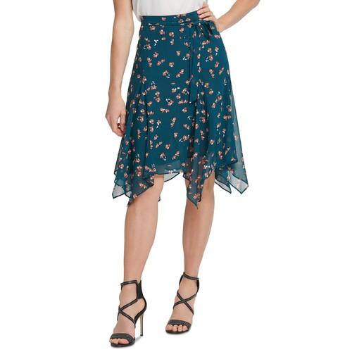 DKNY Women's Tie Belted Handkerchief Hem Skirt Green Size 6