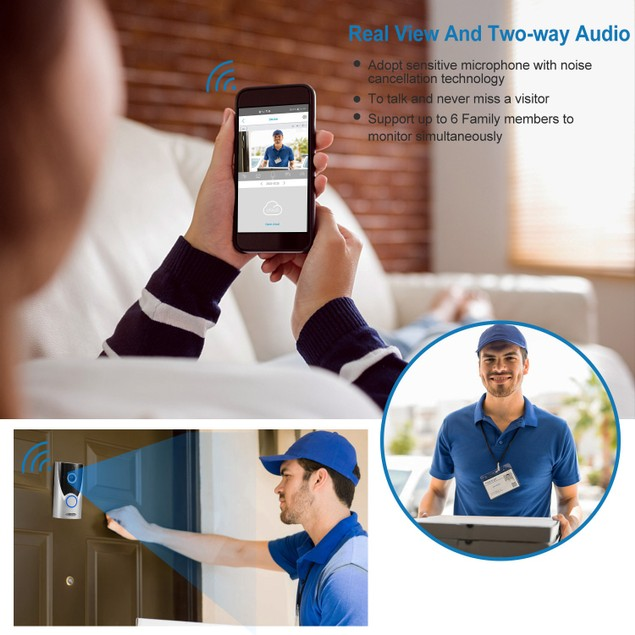 WiFi Video Doorbell Wireless Door Bell 720P HD WiFi Security Camera