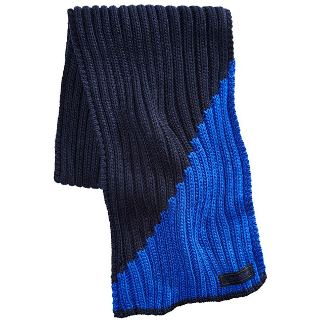 Calvin Klein Men's Colorblocked Ribbed Scarf Blue One Size