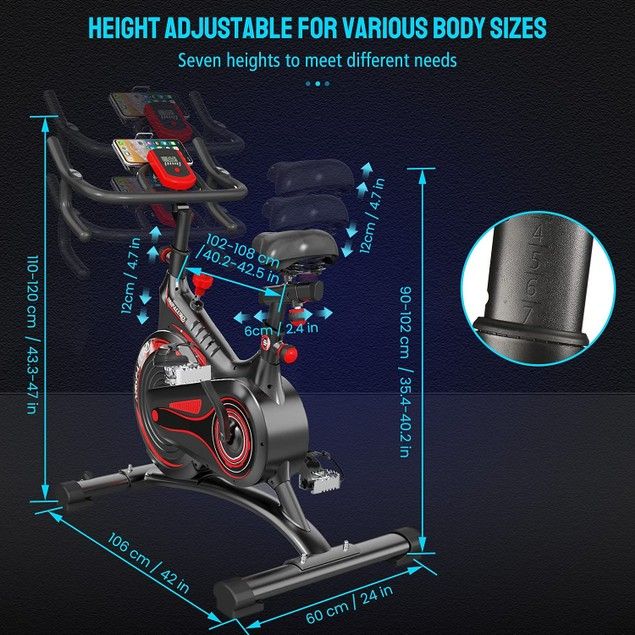 Naspaluro Stationary Magnetic Resistance Exercise Bike with Heart Rate Monitor
