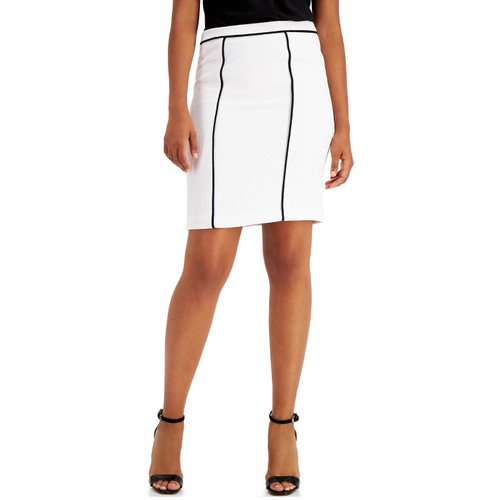 Calvin Klein Women's Contrast Piping Pencil Skirt white Size 10
