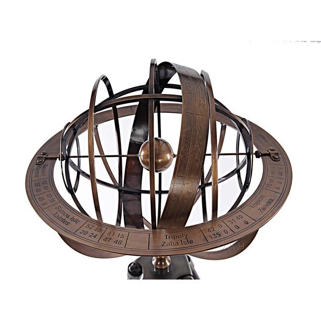 Old Modern Handicrafts Brass Armillary with Wood Stand