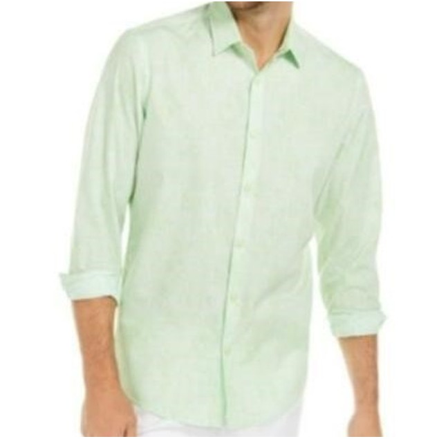 Alfani Men's Classic-Fit Abstract Plaid Shirt Green Size Large