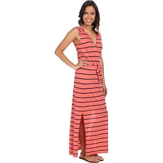 Three Dots Women's Belted Maxi Dress Grapefruit Dress MD (US 8-10)