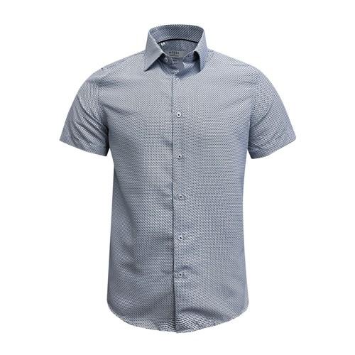 Monza Modern Fit Short Sleeve White Houndstooth Dress Shirt