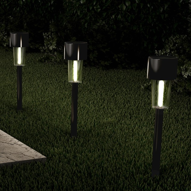 Set of 12 Solar Lights- 12.2 in. Stainless Steel Outdoor Stake Lighting