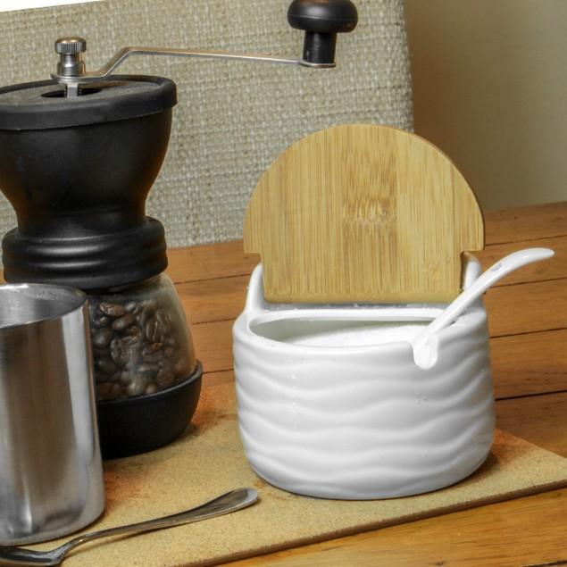 Ceramic Sugar Pot with Lid and Spoon | MandW