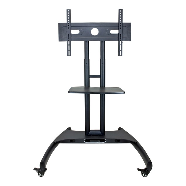 Luxor Height Adjustable Rolling LCD Flat Panel Cart with Accessory Shelf