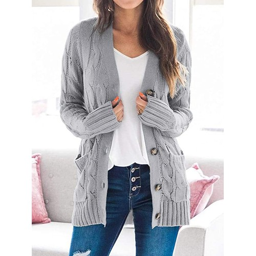Open Front Cable Knit Cardigan Sweater
