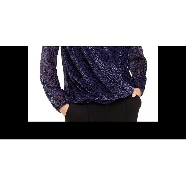 Alfani Women's Printed Burnout Surplice Top Purple Size Small