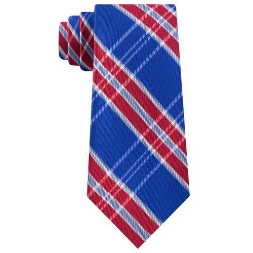 Tommy Hilfiger Men's Vincent Plaid Tie Blue-Red One Size