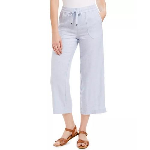 Style & Co Women's Wide Leg Linen Cropped Pants White Size X-Large