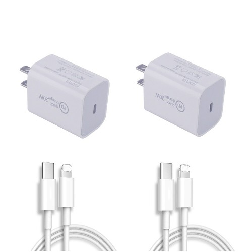 2-Pack Fast Charger USB-C Wall Adapter & USB-C Cable