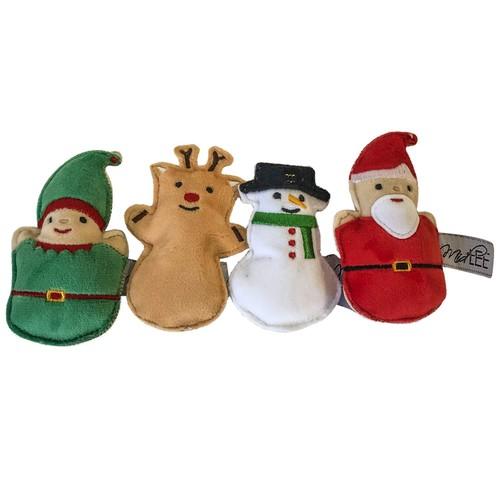 Mini Plush Christmas Dog Toys- Set of 4- Elf Reindeer Snowman & Santa