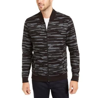 Alfani Men's Abstract-Print Bomber Jacket Black Size Medium
