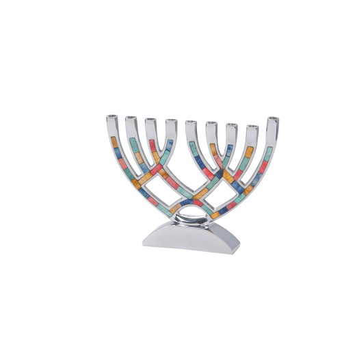 Contemporary Menorah with Multi Colored Inlay-M-4805 Candle Holders