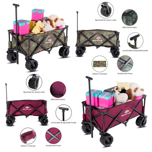 Goplus Collapsible Folding Wagon Cart Outdoor Utility Garden Trolley Buggy