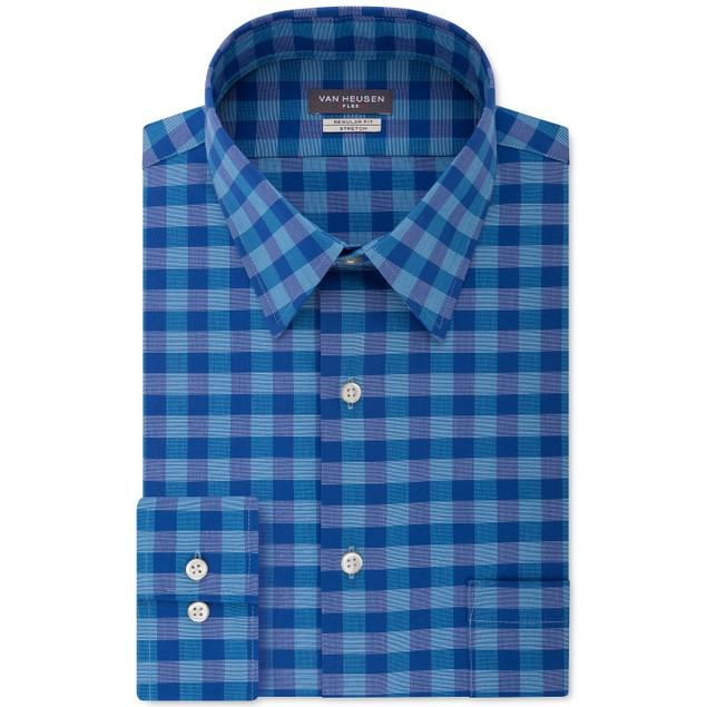 Van Heusen Men's Fit Flex Collar Check Dress Shirt Blue Size 18-34-35