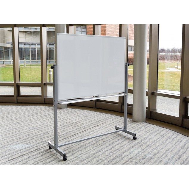 """Luxor Mobile 48""""W x 36""""H Dry Erase Double-Sided Magnetic Whiteboard"""