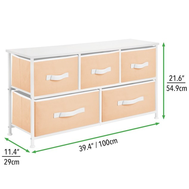 mDesign Wide Dresser Storage Tower with 5 Drawers