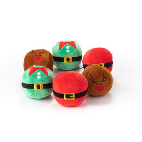 Midlee Christmas Plush Dog Balls- Pack of 6 Reindeer, Santa, Elf
