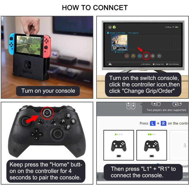 WIRELESS BLUETOOTH PRO CONTROLLER FOR NINTENDO SWITCH DOUBLE VIBRATION