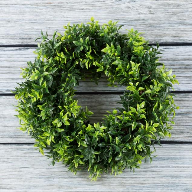 Artificial Opal Basil Leaf Wreath by Pure Garden