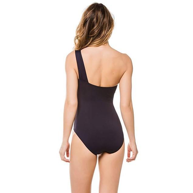 MICHAEL Michael Kors Women's Asymmetrical One Piece Swimsuit New Navy