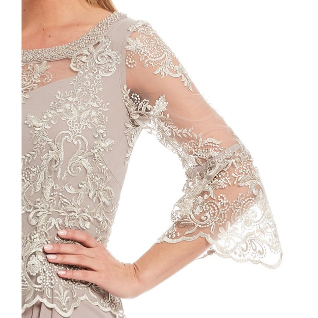 Le Bos A-Line 3/4 Bell Sleeve Lace Popover Cascade Long Gown, 16, Stone