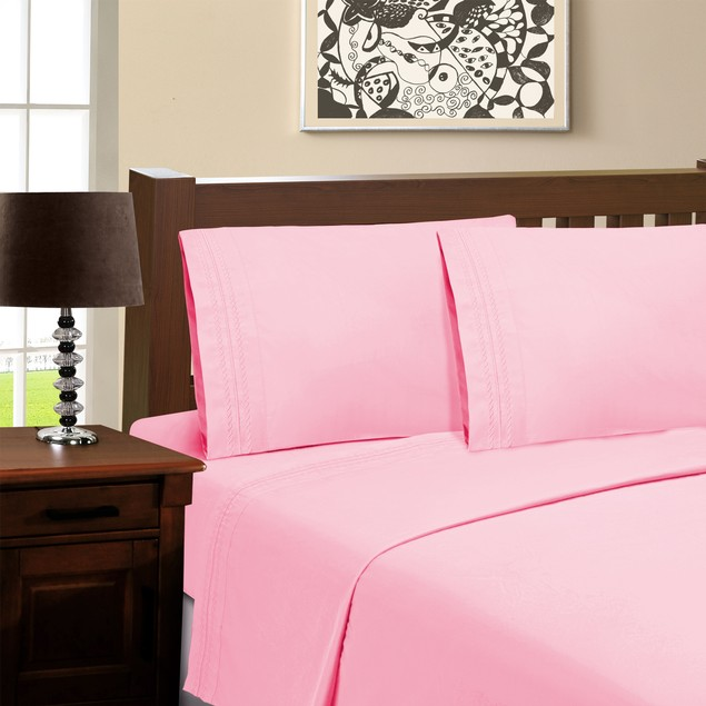 1500 Thread Count 100% Brushed Microfiber, Embroidered  Sastonia 4-Piece