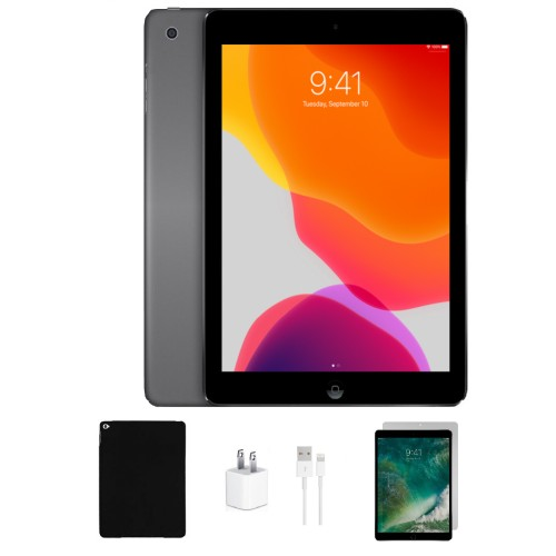 "Apple 9.7"" iPad Air 32GB Bundle (Case, Charger, Tempered Glass) Space Gray"