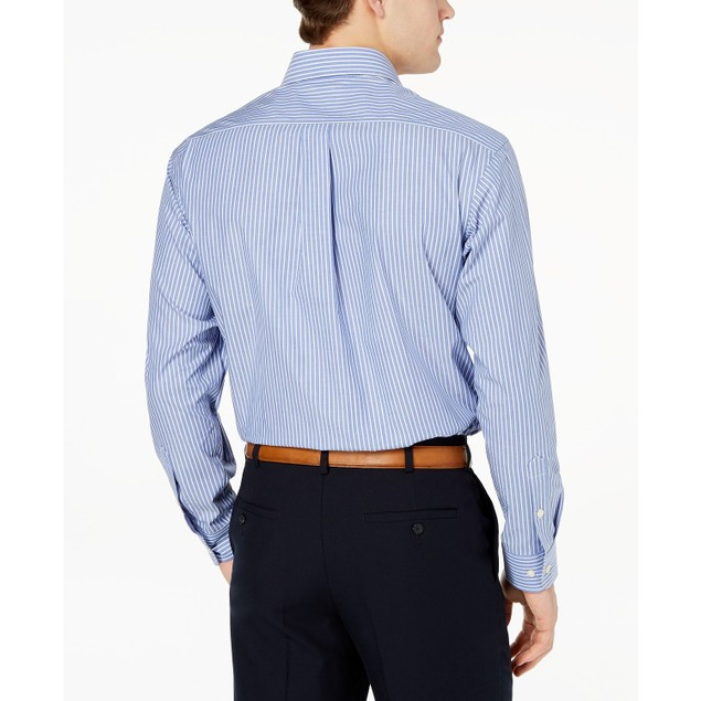 Club Room Men's Regular Fit Stripe Dress Shirt Blue Size 18.5x34-35